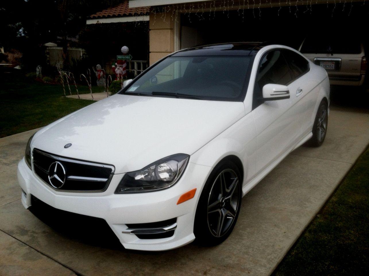 White Mercedes C250 Coupe 2014